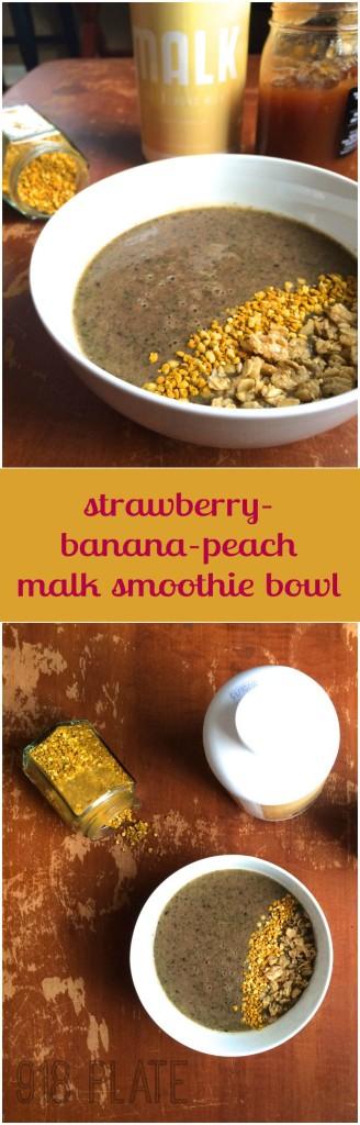 Strawberry-Banana-Peach Smoothie Bowl   918 Plate