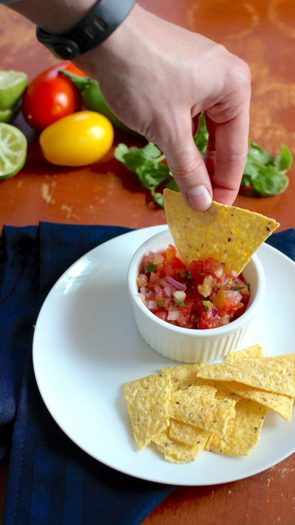 This is a quick and easy salsa recipe that comes together fast for gameday fun!
