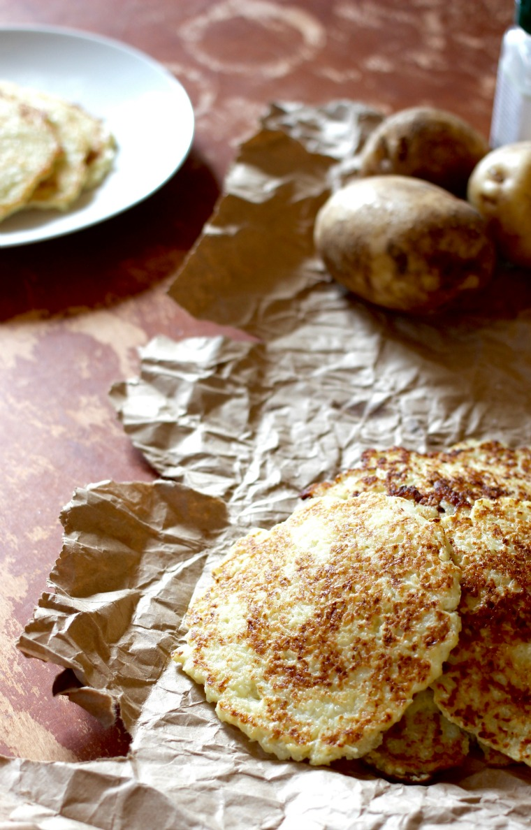These potato pancakes have sneaky cauliflower in them, and are perfect as a warm, filling snack!