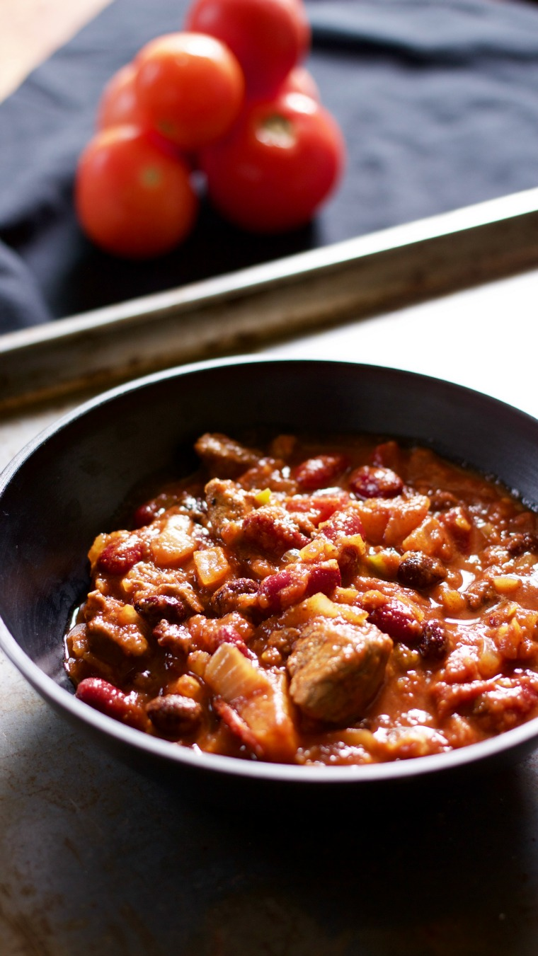"""This is a """"super bowl"""" of sweet and spicy chili with chopped sirloin and pineapple."""