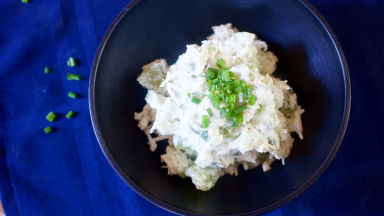 This easy, healthy, Greek yogurt chicken salad is great for lunch packing or a springtime picnic!