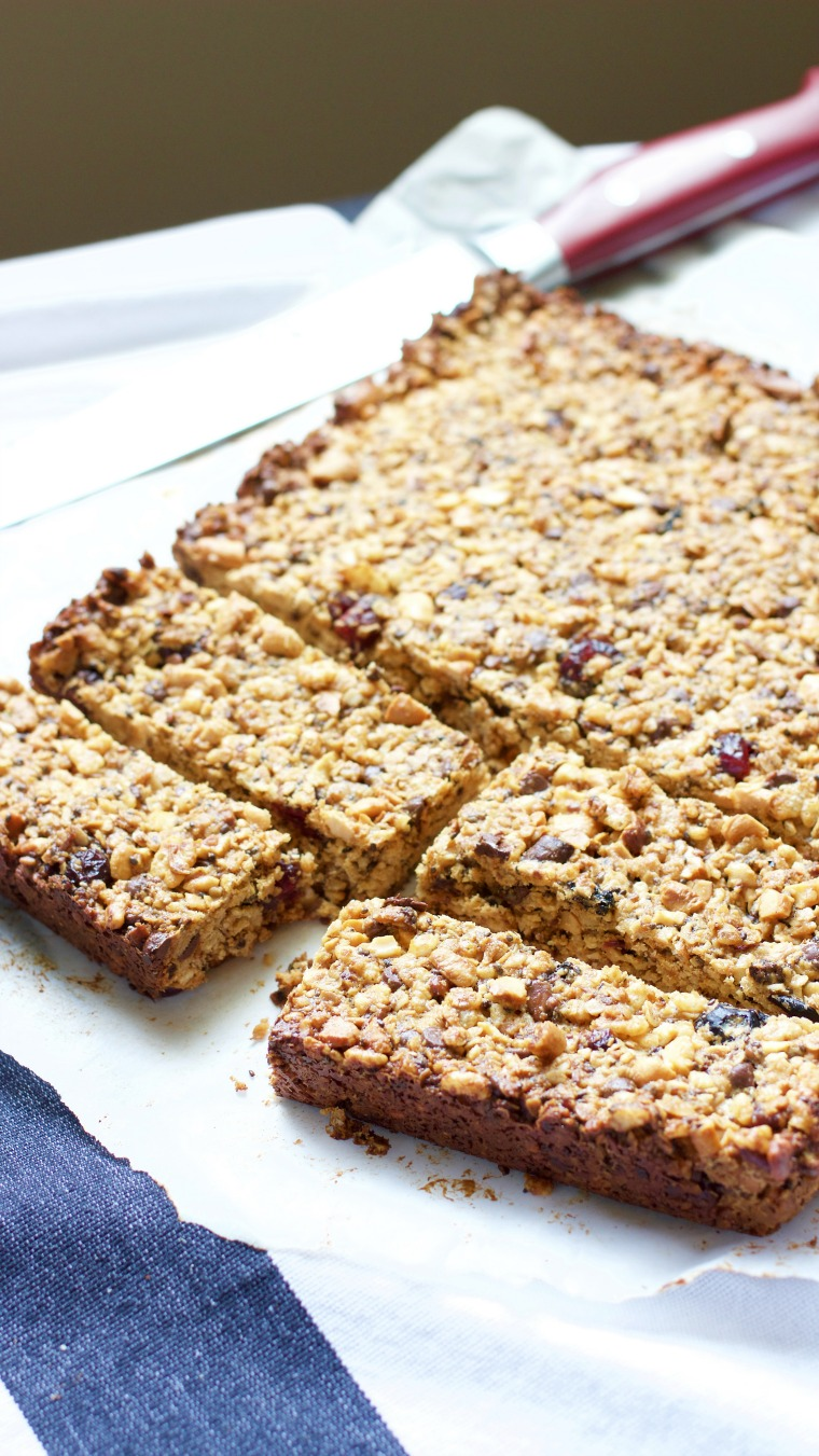 These homemade granola bars are full of nuts and fruit, perfect for a backpacking trek or packing in a lunch!