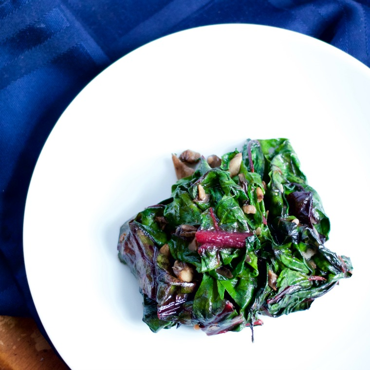 Sauteed Chard with Mushrooms is a perfect side dish for a big piece of juicy steak or chicken; a nice accompaniment to your summer table.