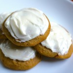 These perfectly pumpkin cookies will suit you and yours the whole season long! Cream cheese icing with a spongy spiced cookie!