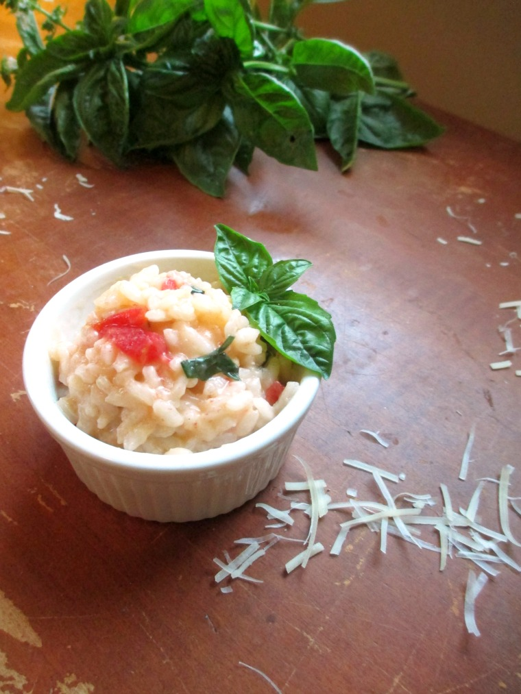 This tomato basil risotto is savory and perfect for a light meal by itself!