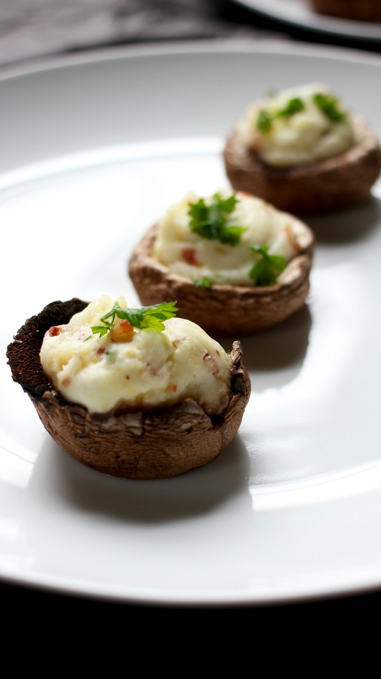 These stuffed mushrooms are like a loaded twice-baked potato in bite-sized form, the perfect gluten-free party appetizer to please a crowd.