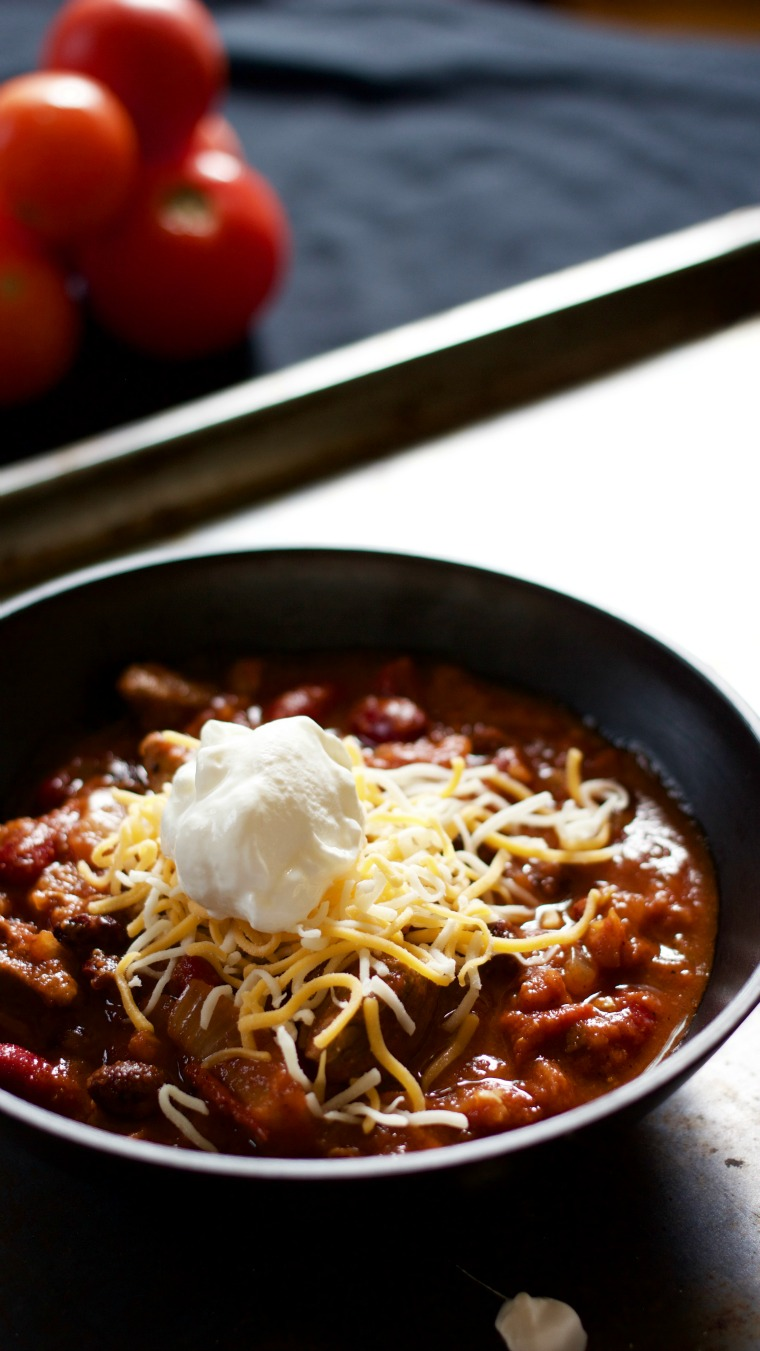 "This is a ""super bowl"" of sweet and spicy chili with chopped sirloin and pineapple."