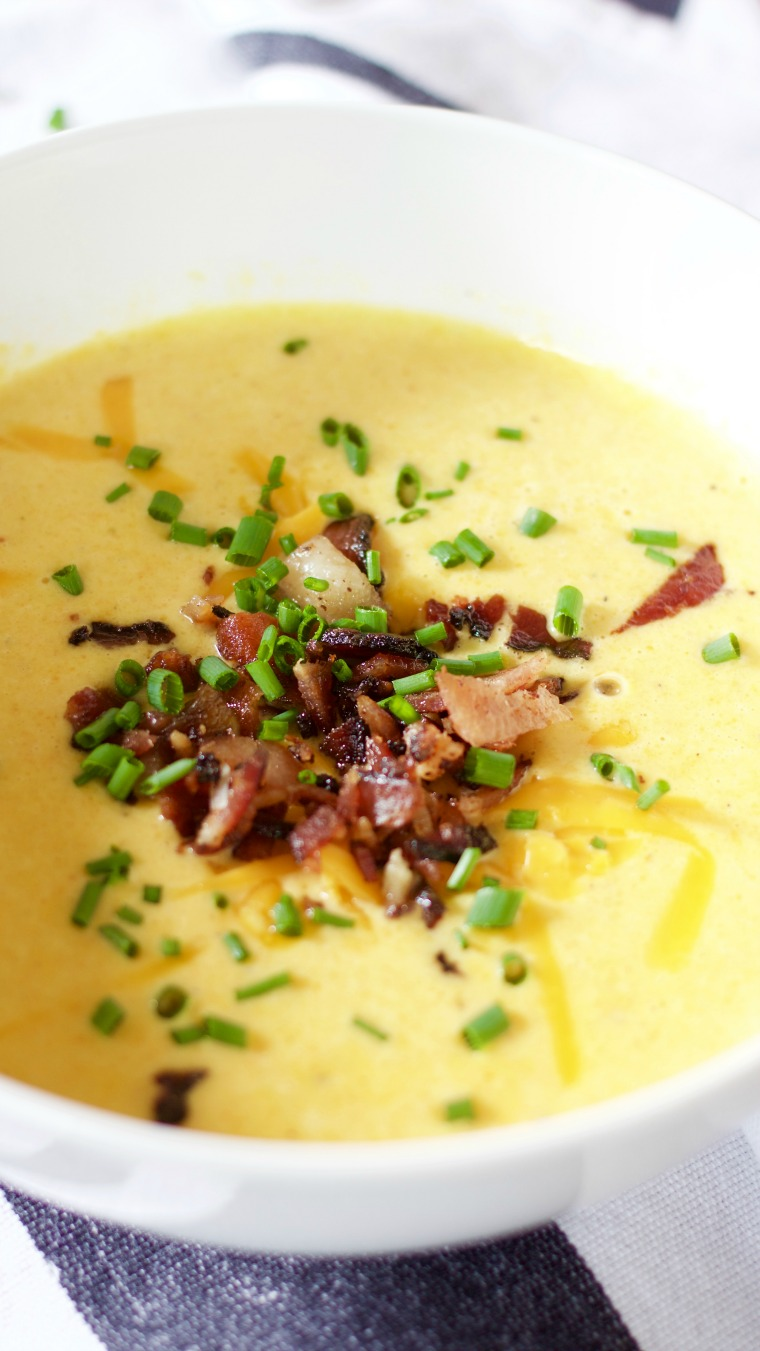 This beer cheese soup has hidden vegetables inside its cheesy goodness!