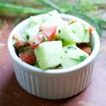 This cucumber ranch salad is a bright, dairy-free, summer side dish packed with fresh garden herbs – perfect for a potluck or picnic!
