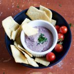 Make your own black bean hummus that is tangy and garlicky – perfect for dipping and taking in your lunch!