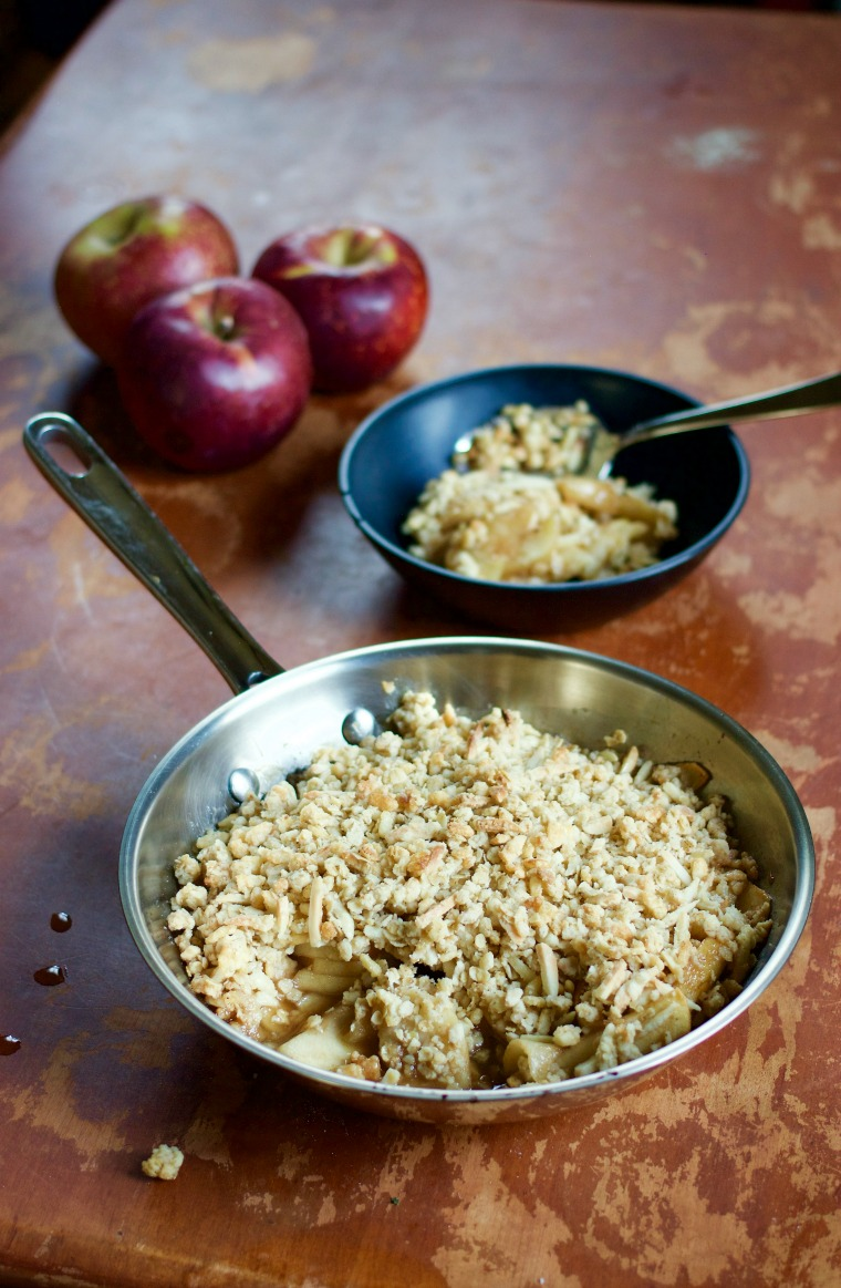 Enjoying this apple crisp with crunchy almond topping will usher the fall season right into your home!