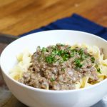 This ground beef stroganoff is a quick but homemade version of a family favorite!