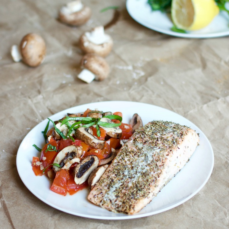 This one pan salmon dinner for one is ready in less than 30 minutes and is bursting with flavor!