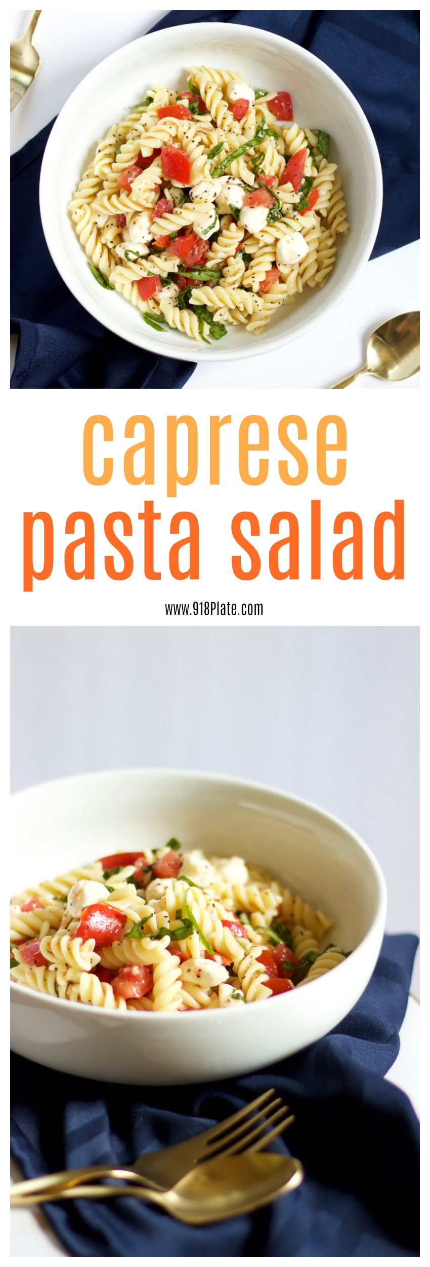 This caprese pasta salad is a fast way to make a quick lunch or snack that tastes fresh and light!