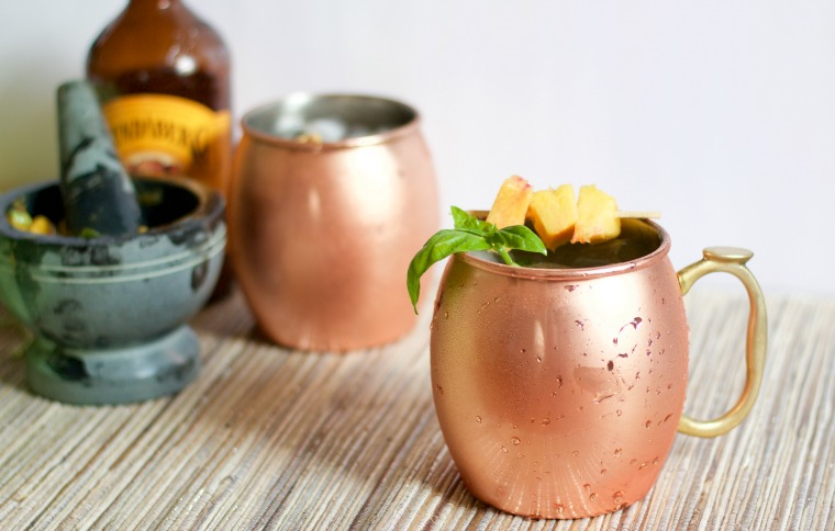 Peach and Basil Moscow Mule   918 Plate