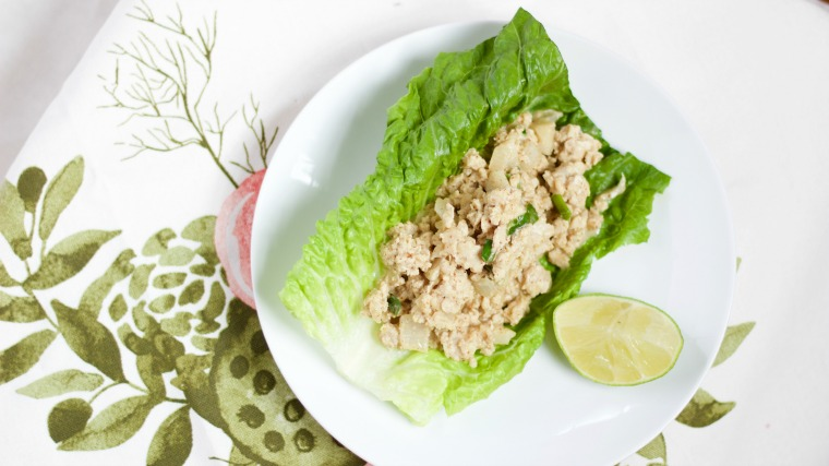 These Thai-inspired chicken lettuce wraps are fast and a filling lunch or snack!