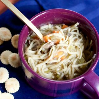 This no-chicken noodle soup is packed with noodles and still very hearty! No-Chicken Noodle Soup | 918 Plate