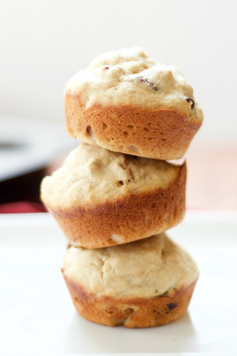 three muffins stacked into a tower