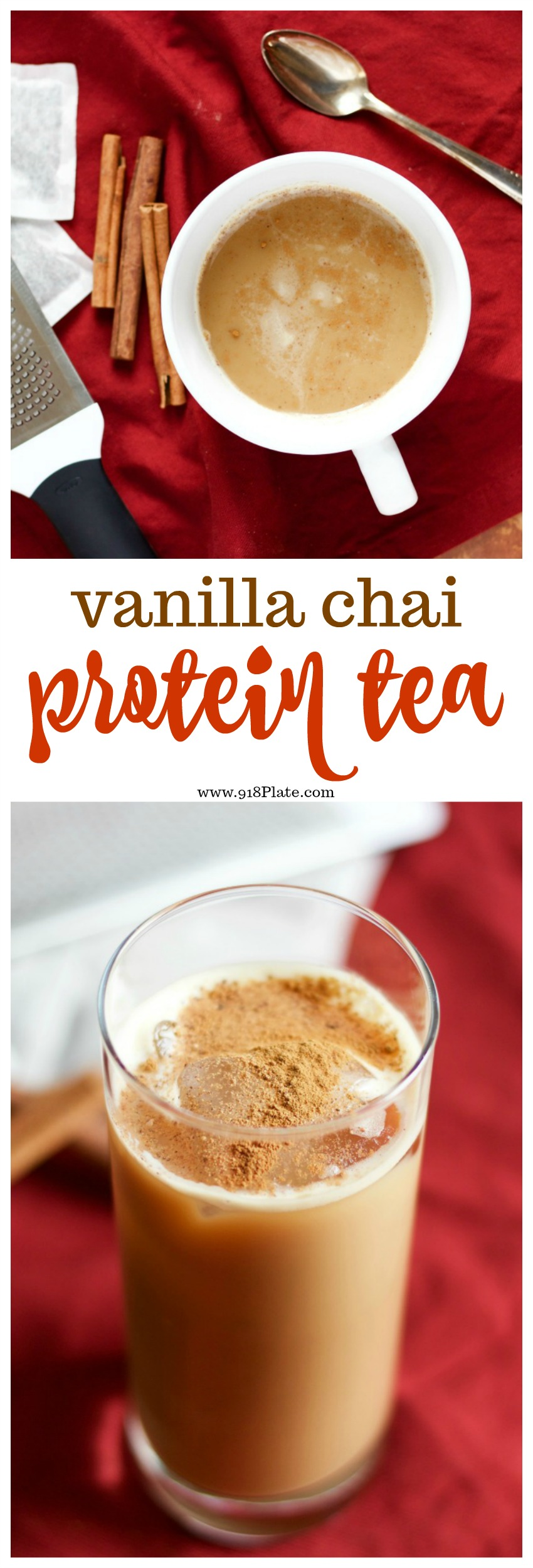 You can drink this vanilla chai latte protein tea hot or cold, for a great start to your morning or mid-day power snack. | Vanilla Chai Latte Protein Tea | 918 Plate #glutenfree #vegetarian