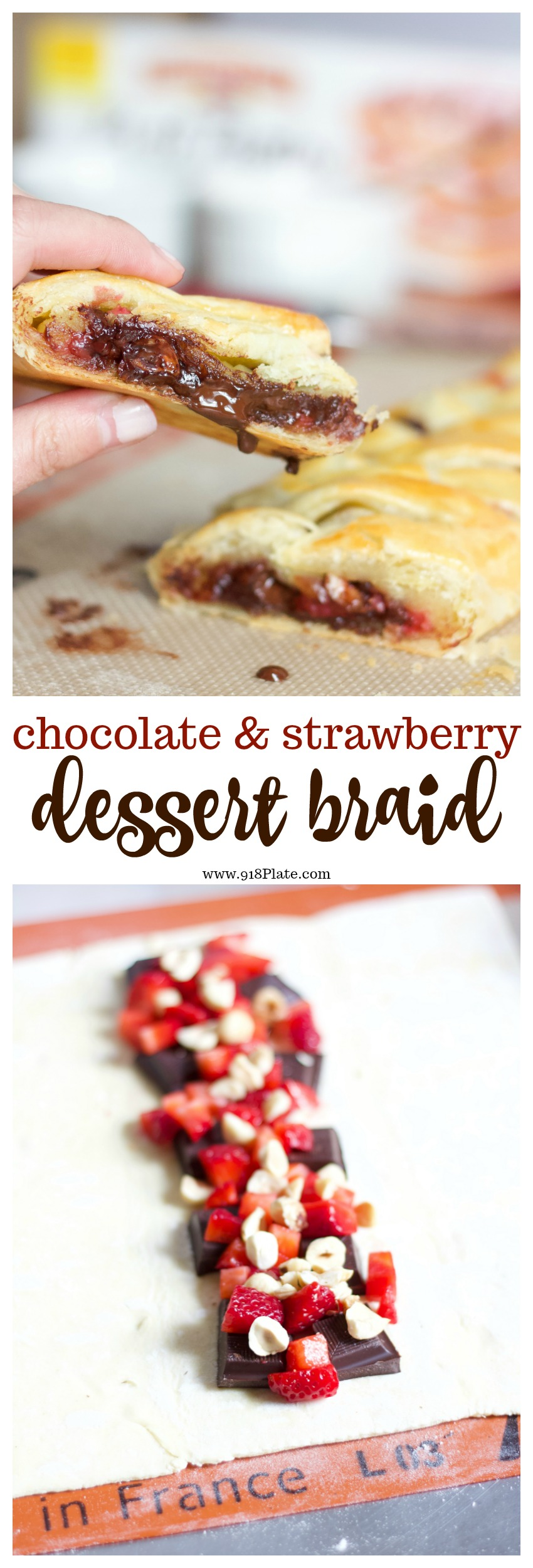 This 5-ingredient chocolate strawberry pastry braid is easy to make in a pinch, with a gorgeous presentation to impress your guests! | 918 Plate | Chocolate Strawberry Pastry Braid
