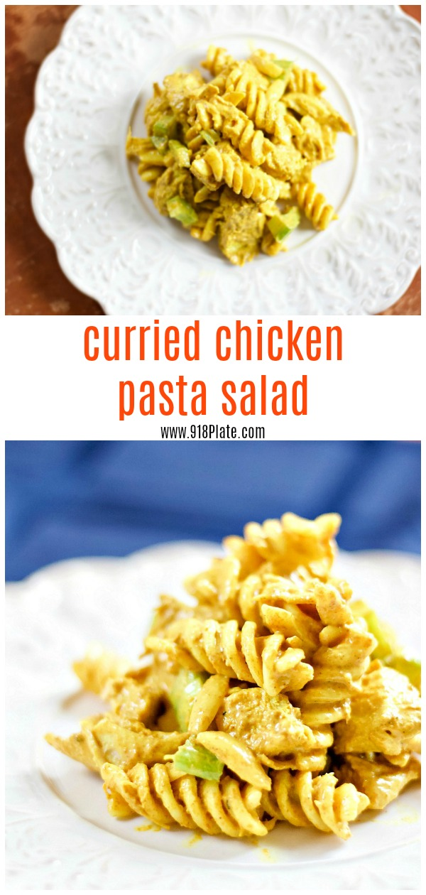 This recipe has been adapted from the Pioneer Woman's Curried Chicken Pasta Salad recipe. You know why? Because it's delicious, and I don't like raisins. | Curried Chicken Pasta Salad | 918 Plate