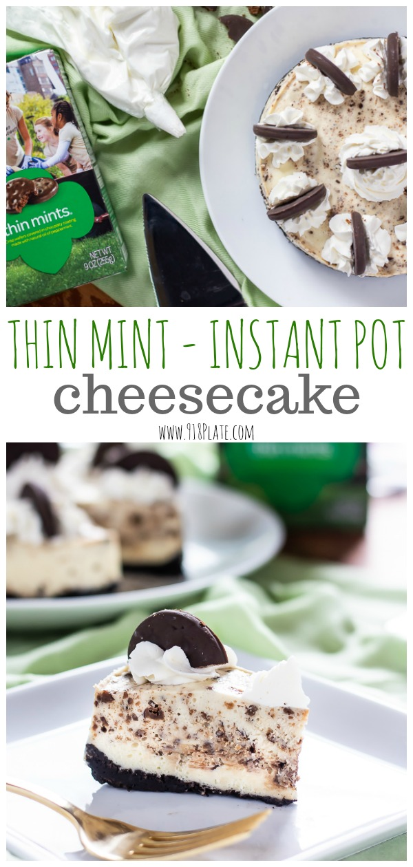 Make Instant Pot Cheesecake in a flash, and crumbles of the best Girl Scout Cookie will make it even better! | 918 Plate | Vegetarian | #instantpot | #girlscoutcookies