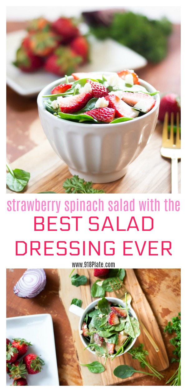 The best salad dressing recipe is completed in a salad with strawberries and spinach! | 918 Plate | #spinachsalad #salad #glutenfree #veganoption #vegetarian