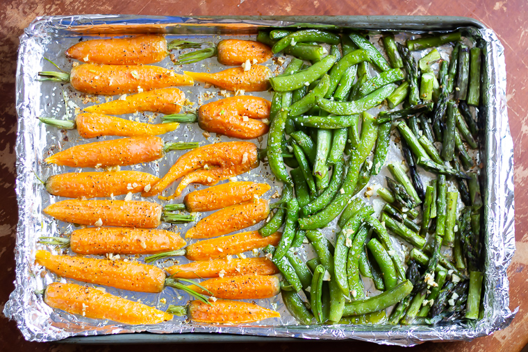 full pan view of a pan of vegetables that have been cooked.