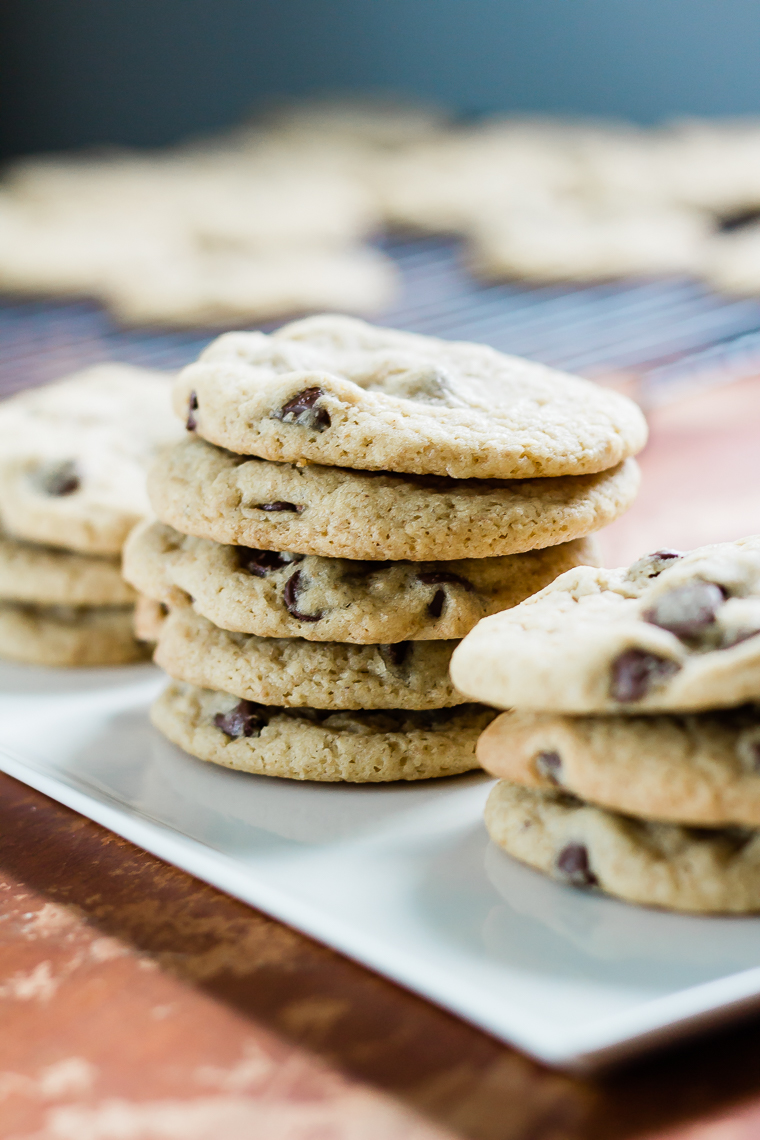 three stacks of chocolate chip cookies