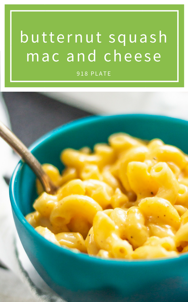 This is a super easy butternut squash mac and cheese recipe that hides some squash and tastes delicious! | 918 Plate | #glutenfreeoption | #vegetarianoption