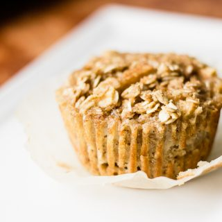 a close up of an apple cinnamon oatmeal cup ready to be eaten