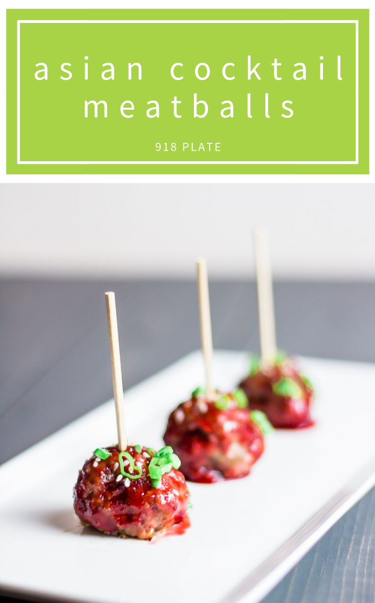 These Asian cocktail meatballs just the right amount of sweet and savory, sure to please your guests! | 918 Plate | #dairyfree | #appetizer | #partyfood