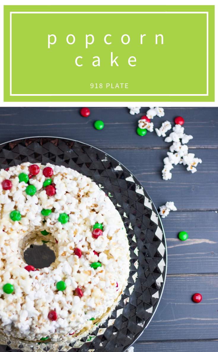 This nostalgic popcorn cake is like a giant popcorn ball to feed a crowd! | 918 Plate | #glutenfree | #dessert