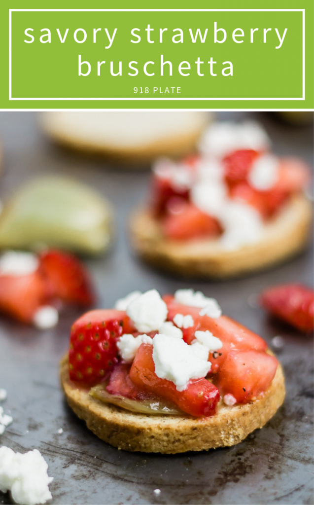 This strawberry feta bruschetta is a perfect appetizer--savory, sweet, and all around a hit! | 918 Plate
